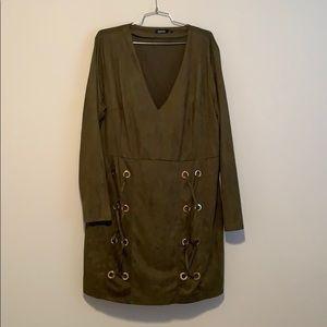 Olive green mini suede dress